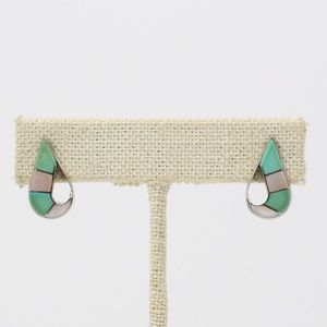 ZUNI Sterling Turquoise & MOP Inlay Earrings